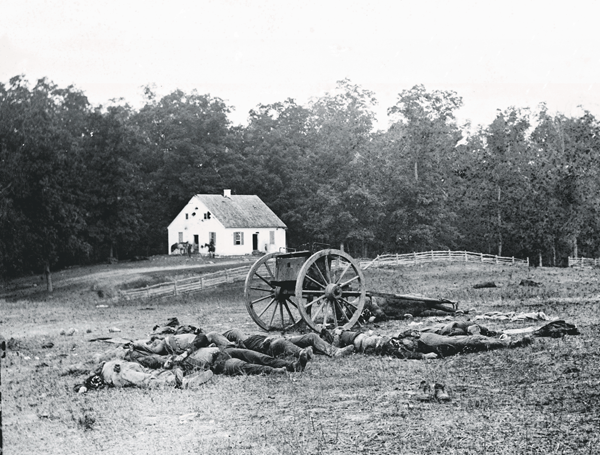 Photo of dead at the Battle of Antietam. In The Better Angels, the characters attend the exhibit at Mathew Brady's studio.