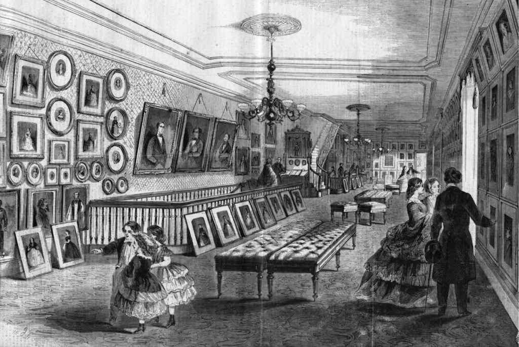 Drawing showing the interior of Civil War photographer Mathew Brady's studio.
