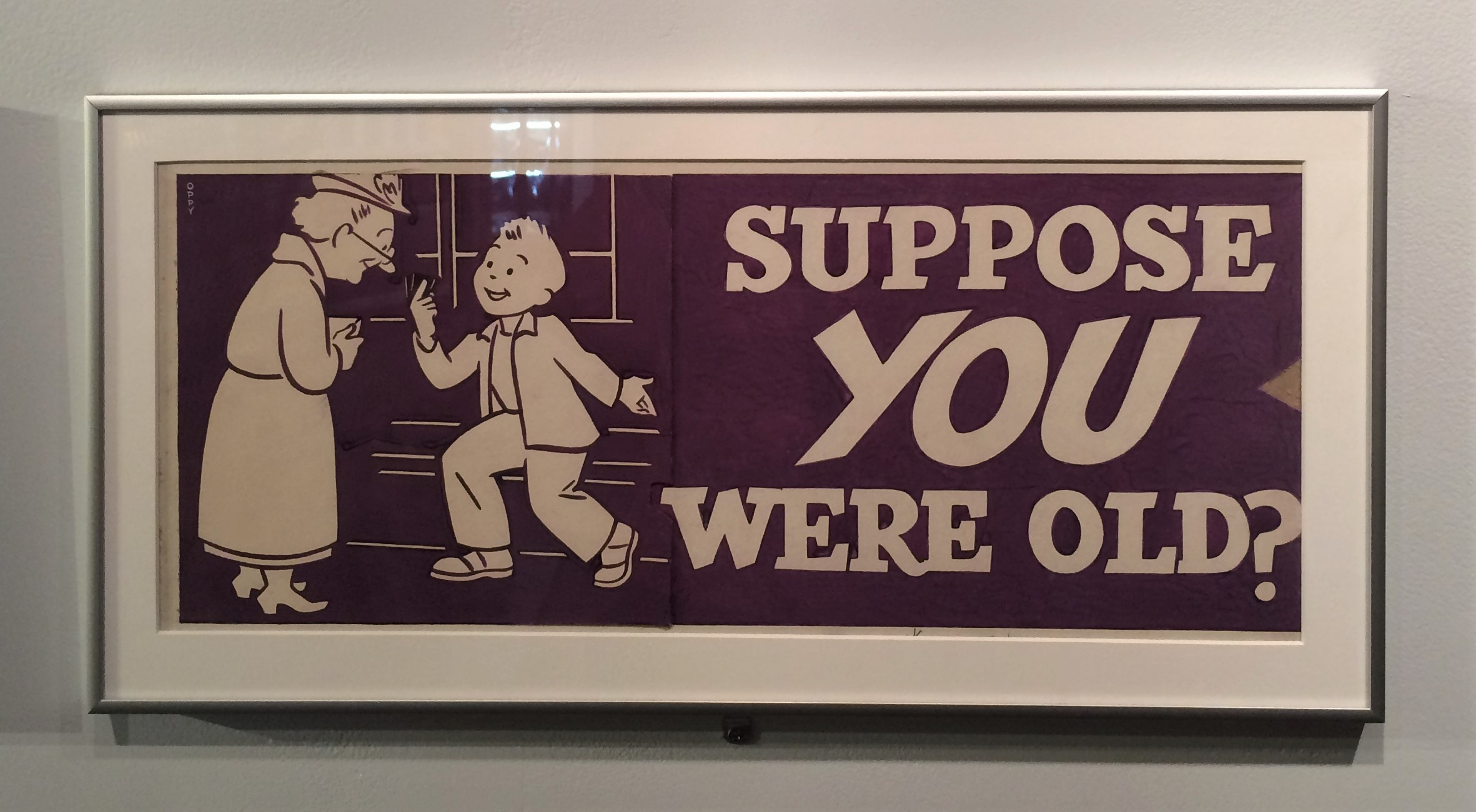 "Old New York City subway poster encouraging people to offer seats to seniors. The poster reads ""Suppose you were old?"""