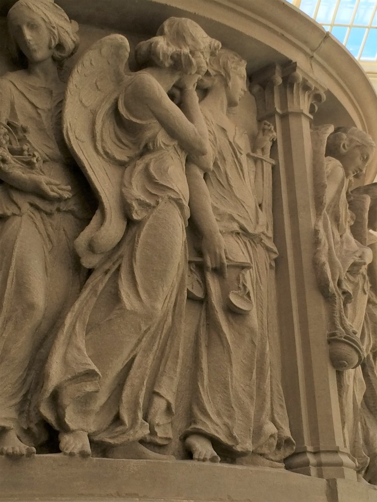 Angels sculpted by Karl Bitter on a pulpit used in All Angels Church