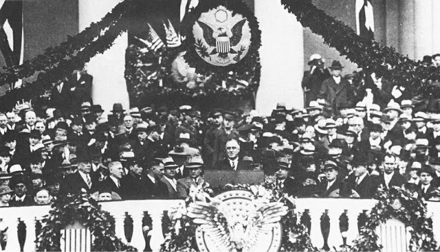 "FDR delivers his first inaugural address declaring ""the only thing we have to fear is fear itself."""