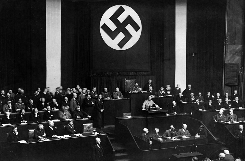 Hitler gains absolute power when the Reichstag passes the Enabling Act in 1933