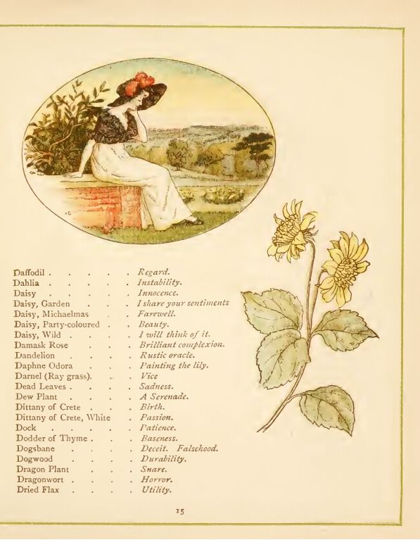 Page from Language of Flowers, a Victorian flower dictionary by Kate Greenaway