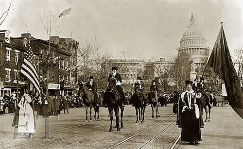 Women's suffrage parade in 1913 with Helen Churchill Candee riding a horse