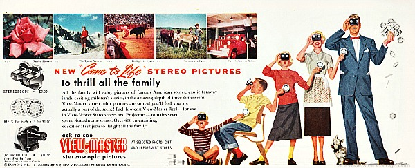 Vintage ad showing whole family enjoying View-Master stereo pictures