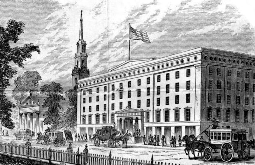 Drawing of the Astor House in 19th century New York City.