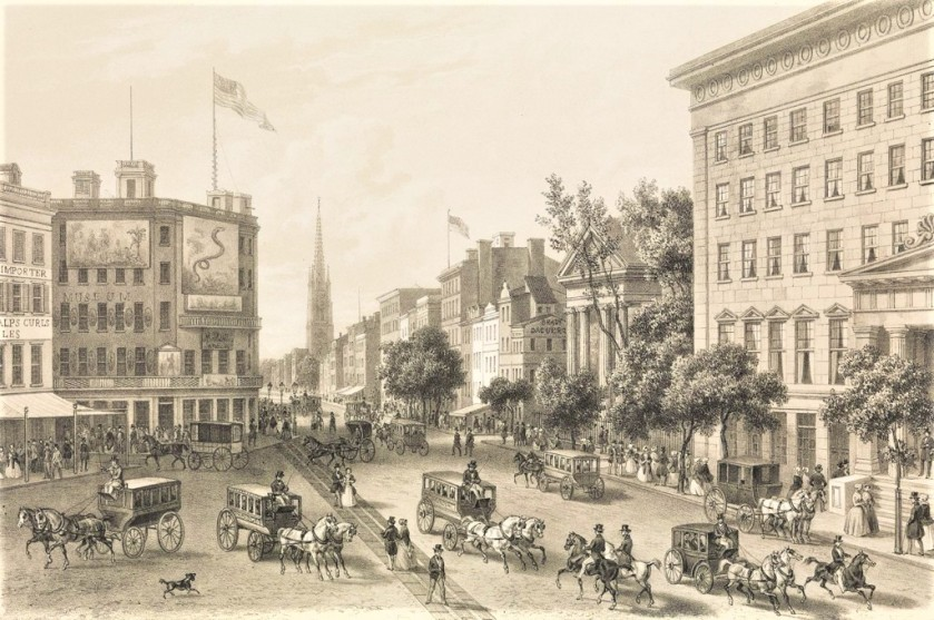 Drawing of 19th century Broadway showing Barnum's Museum, Brady's Studio, St. Paul's Chapel, and the Astor House