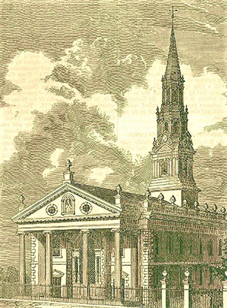 Vintage drawing of St. Paul's Chapel in Manhattan