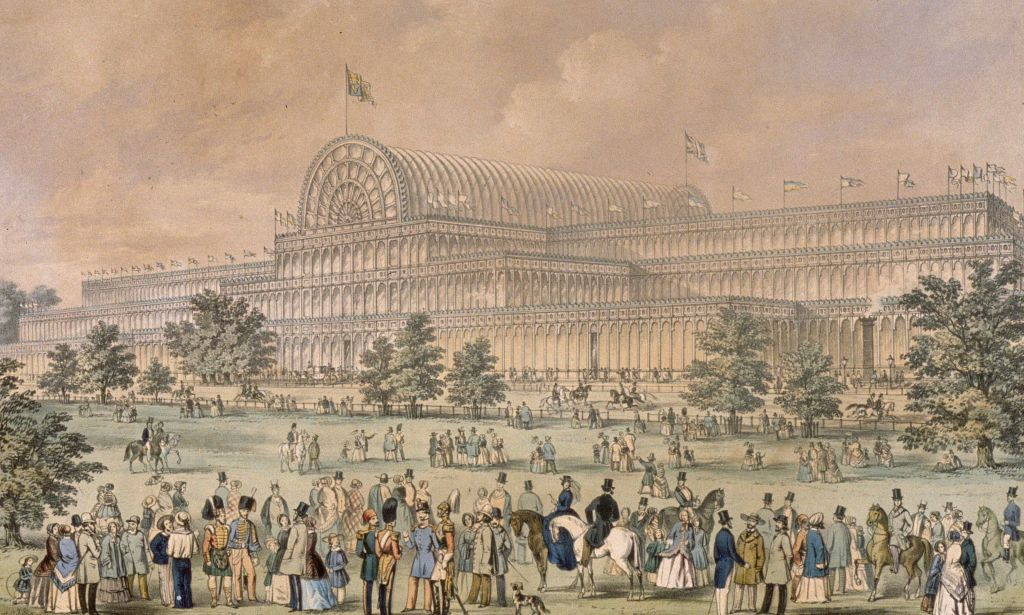 Painting of the Crystal Palace Exhibition Hall.